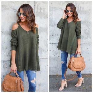 Tops - NEW Arrival ! Olive Cold Shoulder Top